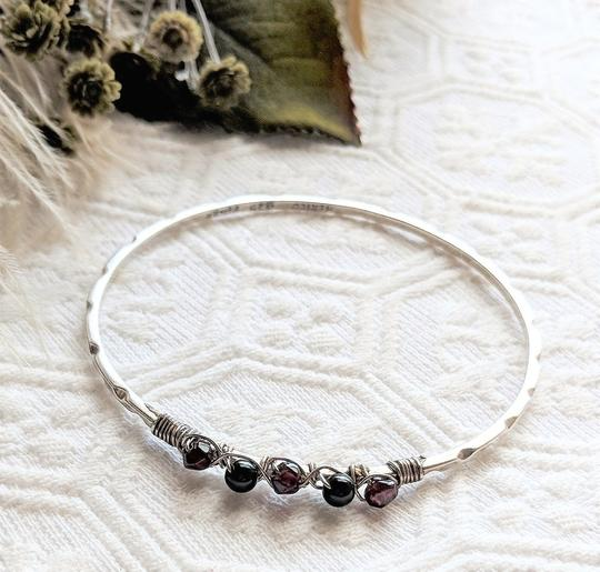 Vintage Taxco Vintage Taxco Mexico Sterling Garnet Wire Wrapped Bangle Bracelet