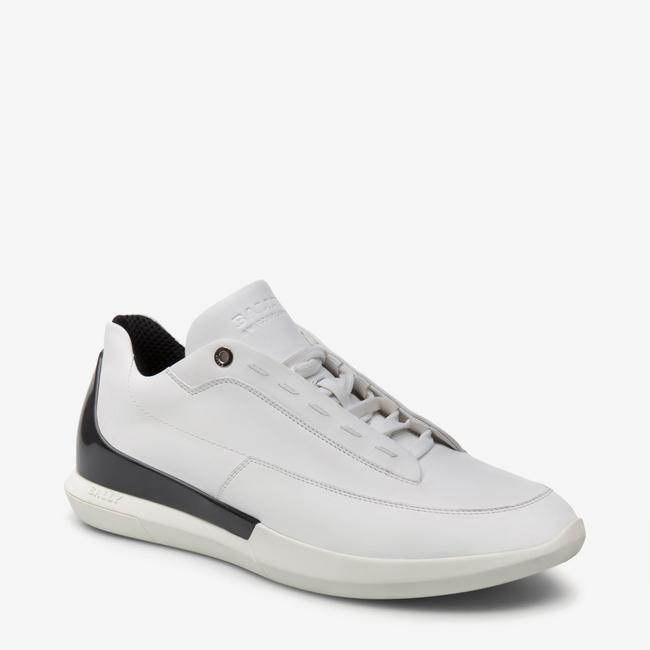 Item - White Avier Leather Logo Black Back Low Sneakers 12 Us 45 Italy Shoes