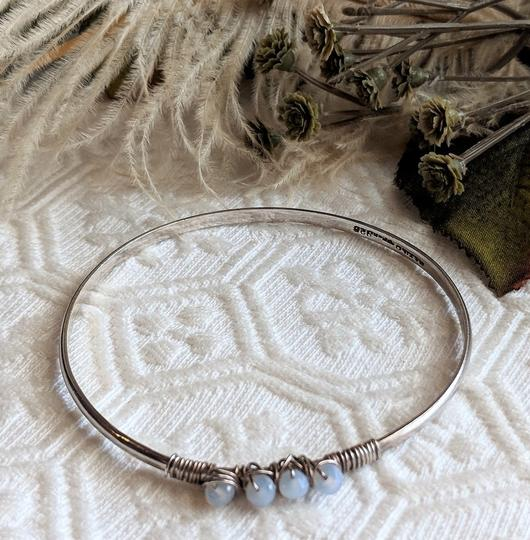 Vintage Taxco Vintage Taxco Mexico Sterling Chalcedony Wire Wrapped Bangle Bracelet