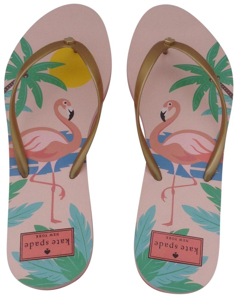 fce42996010d Kate Spade Pink Gold Nassua Flamingo New Flip Flops Sandals. Size  US ...
