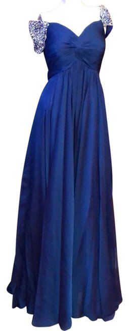Item - Blue Couture #812 Maxi Cocktail/ Party Gown Royal Beaded Long Cocktail Dress Size 4 (S)