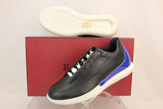 Bally Black Avier Leather Logo Blue Low Sneakers 7.5 Us 40.5 Italy Shoes
