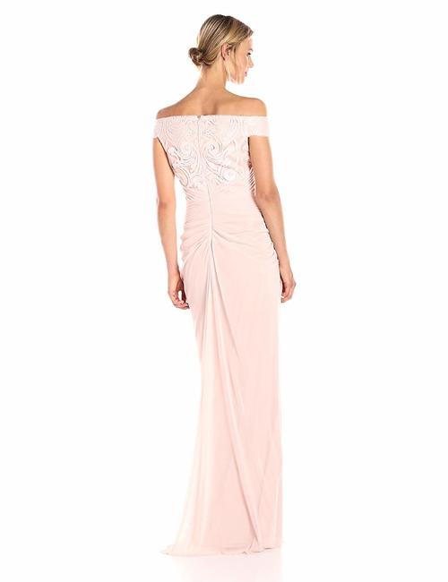 Adrianna Papell Sequins Tulle Full Length Gown Drape Dress
