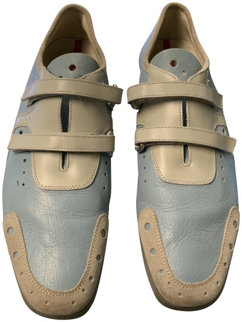 Item - Blue/Beige And Begie Leather Tennis 1/2 Sneakers Size EU 38.5 (Approx. US 8.5) Regular (M, B)
