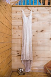 Rebecca Schoneveld Champagne Silk and Chantilly Lace Gemma Feminine Wedding Dress Size 4 (S)