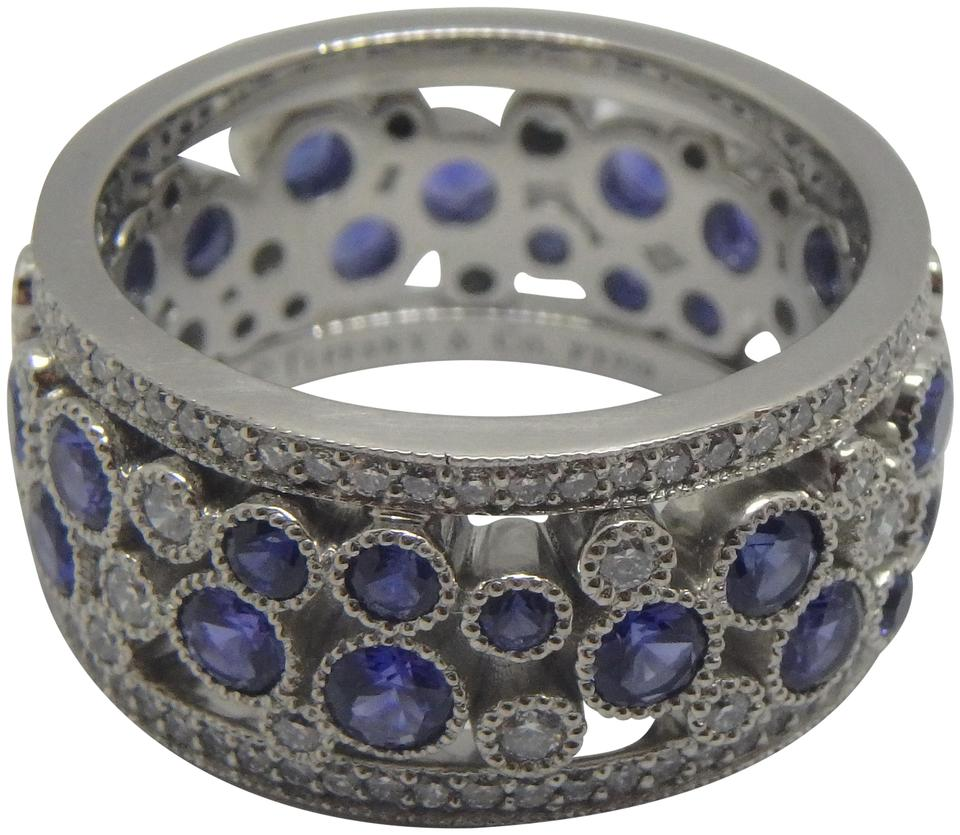 09b3a4bbe Tiffany & Co. Platinum Blue Sapphire and Diamond Cobblestone Ring ...