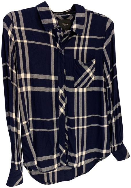 Item - Blue and White Plaid Shirt Button-down Top Size 2 (XS)