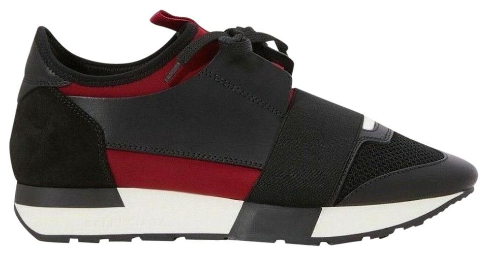 1cbb73459 Balenciaga Black Womens Race Runner Red Lie De Vin Leather Lace Up Tie  Speed Sneakers