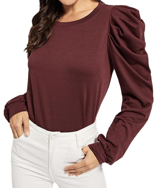 Preload https://img-static.tradesy.com/item/24797493/shein-burgundy-puff-sleeve-solid-pullover-blouse-size-0-xs-0-1-650-650.jpg