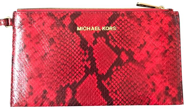 Item - Leather Snake Skin Pattern Monogram With Red and Back Clutch