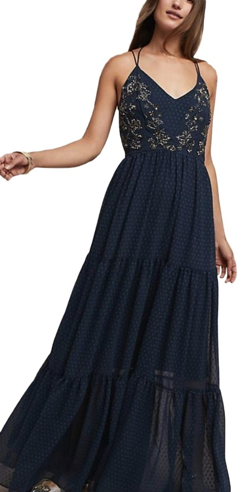 241003475d3 Anthropologie Navy Lucinda Beaded Long Casual Maxi Dress Size 2 (XS ...