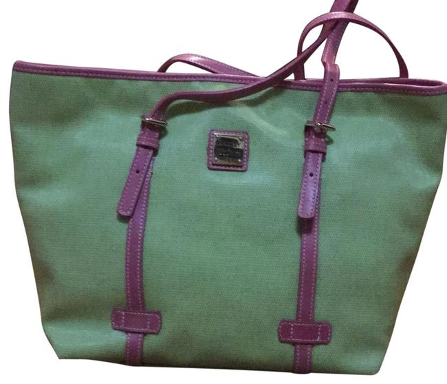 Dooney & Bourke East/West Shopper Lime and Pink Man Made Tote Dooney & Bourke East/West Shopper Lime and Pink Man Made Tote Image 1