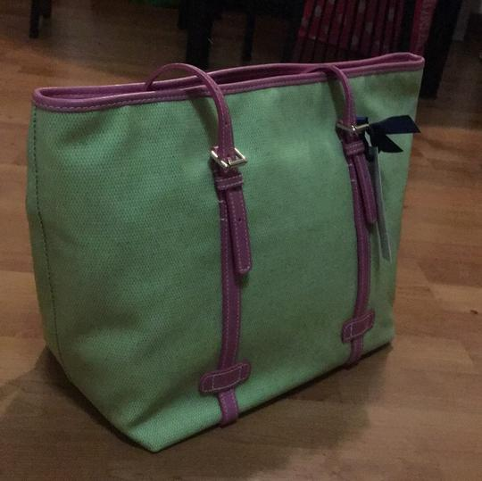 Dooney & Bourke Tote in Lime and Pink Image 11