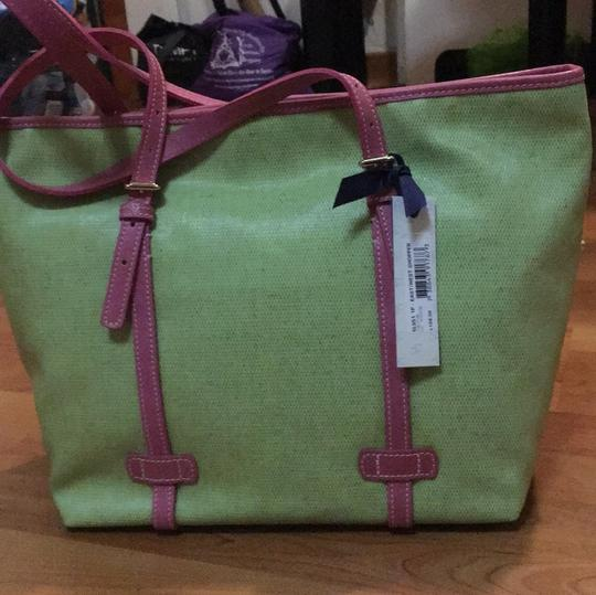 Dooney & Bourke Tote in Lime and Pink Image 3