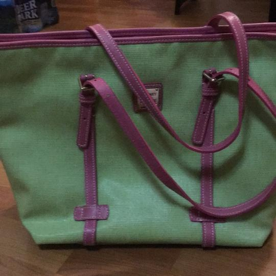 Dooney & Bourke Tote in Lime and Pink Image 9