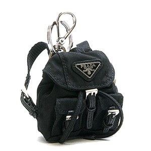 19576939f9292 Prada Prada black nylon iconic prada backpack key chain 1TT010