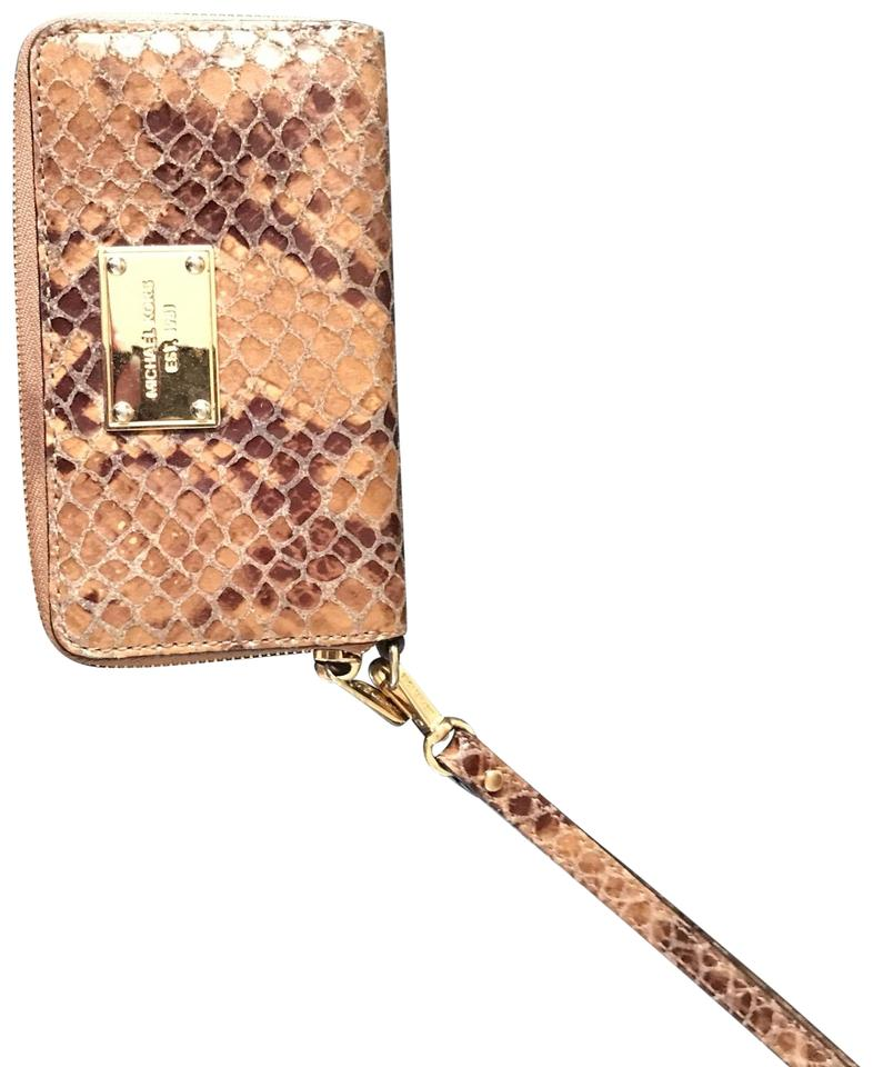 a3d1b660c4d7 Michael Kors Collection Leather Snakeskin Monogram Tan and Brown Wristlet