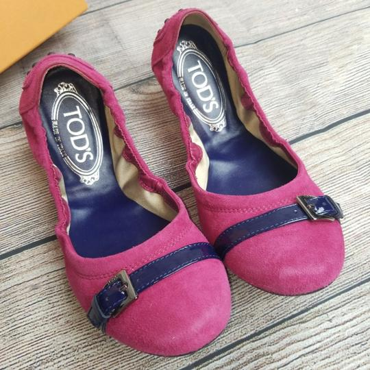 Tod's Pink and Blue Suede Flats