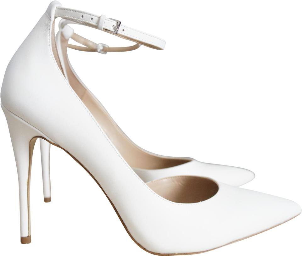 4db976fa39f5 ALDO White Staycey Women s Heels Leather Heels with Ankle Strap Pumps