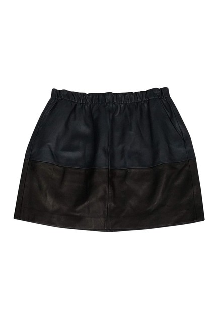 Vince Navy Lamb Leather Skirt Black