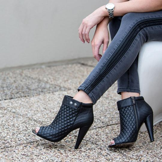 Kristin Cavallari Leather Quilted Open Toe Ankle Black Boots Image 1