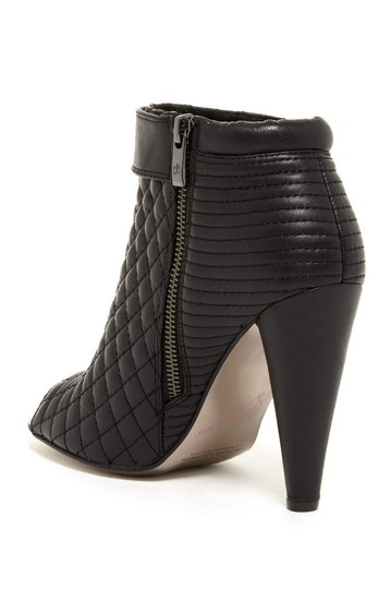 Kristin Cavallari Leather Quilted Open Toe Ankle Black Boots Image 2