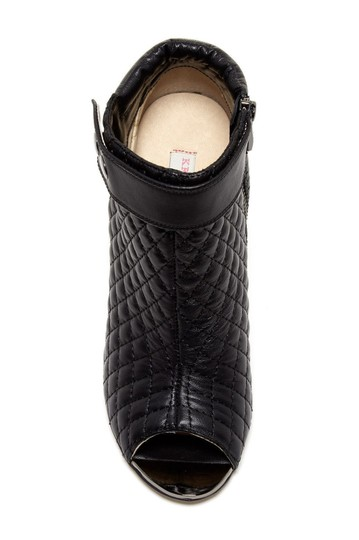 Kristin Cavallari Leather Quilted Open Toe Ankle Black Boots Image 3