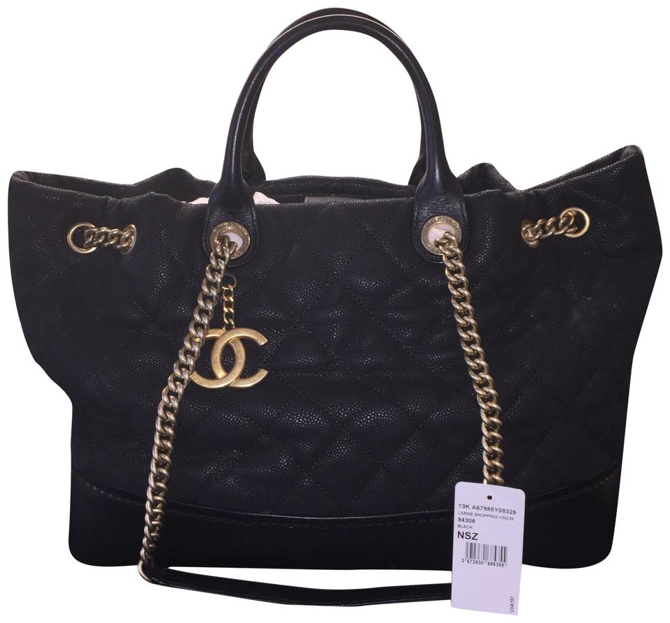 0cbb2162d016 Chanel Gabrielle Caviar Large Shopping Quilted Ghw 13k Black Cowhide  Leather Tote