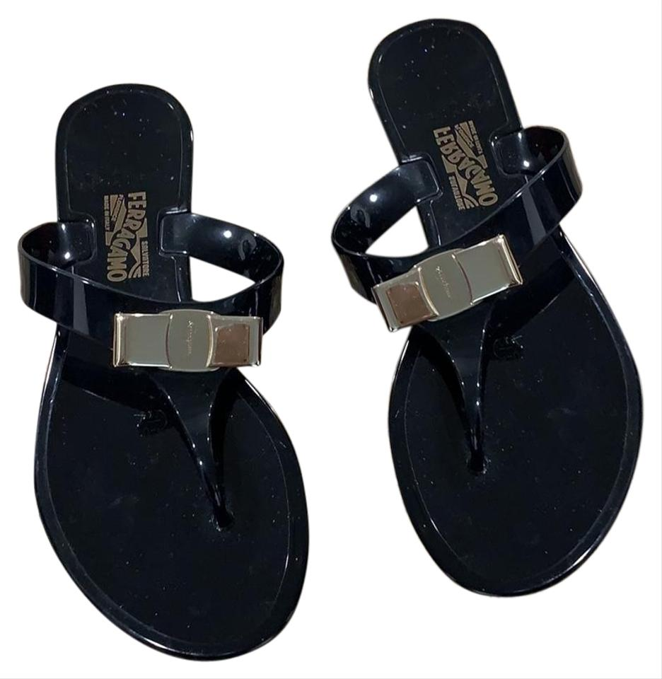 8962f8d51204 Salvatore Ferragamo Black Farelia Jelly Thong Sandals Size US 5 Wide ...