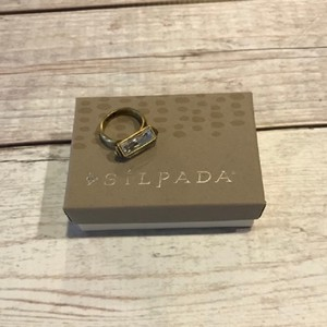"Silpada ""Rock On"" Brass and Crystal Size 7 Ring"