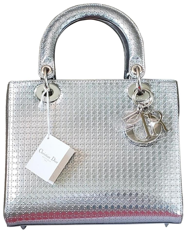 0bf57af626 Dior Lady Christian Micro-cannage Medium Metallic Silver Calfskin Tote