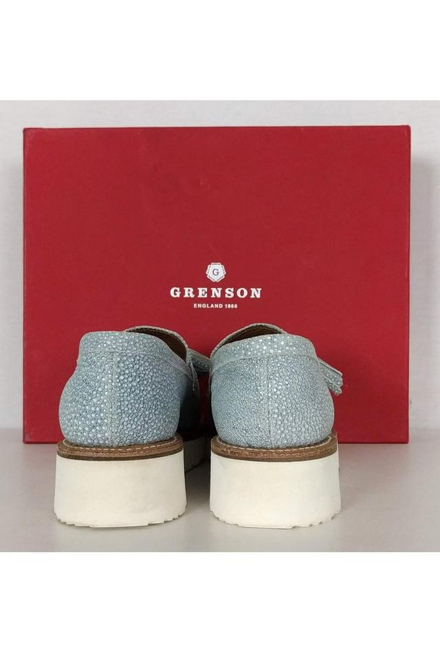 f372542e380 Grenson Clara Textured Leather Loafers Blue Pumps Image 2. 123