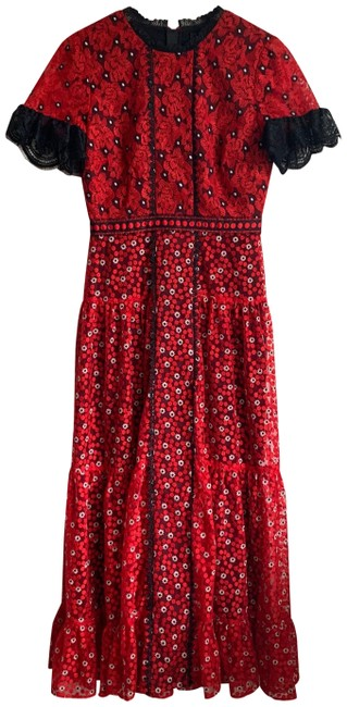 Item - Red & Black Andie Long Formal Dress Size 4 (S)