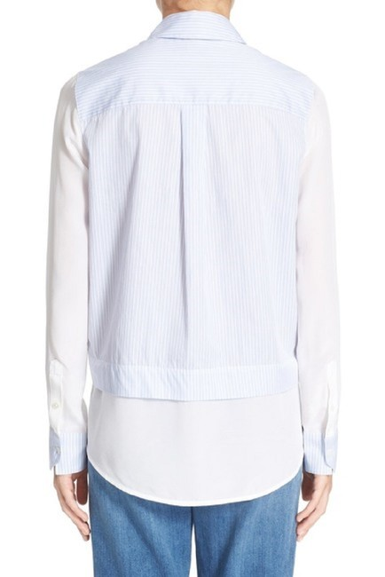 Vince Cotton Silk Button Down Shirt White Blue