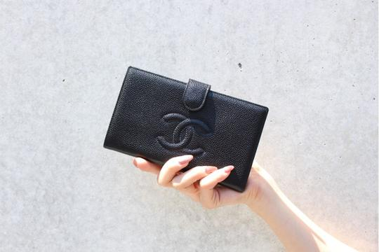 Chanel Authentic CHANEL Caviar Timeless CC French Wallet Black