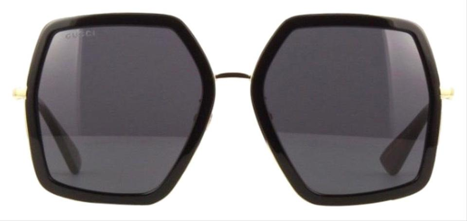 4aaa3bfe146 Gucci 001 Black Gold Gg0106s Oversized Square Acetate and Metal ...