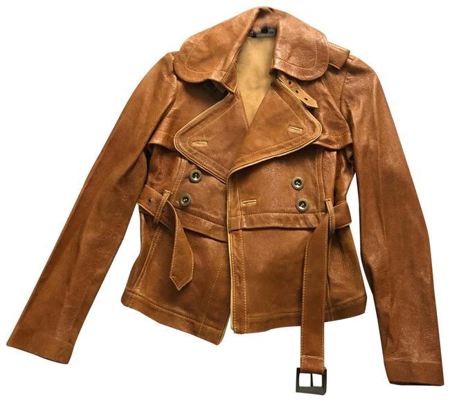 Item - Brown/Cognac Military Belted Jacket Size 2 (XS)