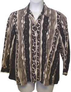 TanJay Silky Blouse Petite 8 Long Sleeve Button Down Shirt Brown