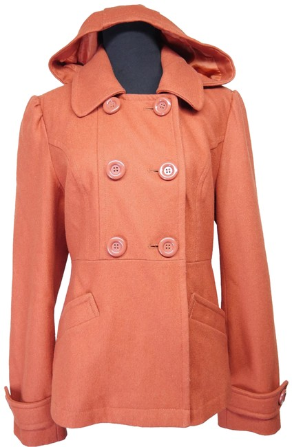 Item - Rust Orange Tulle Wool Blend Jacket Coat Size 12 (L)