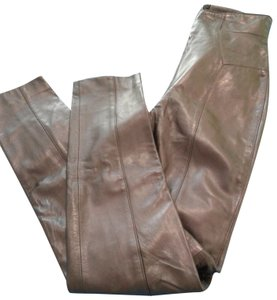 Michael Hoban Softest Leather Lined Hight Waist Zip On Back Made In China Skinny Pants purple