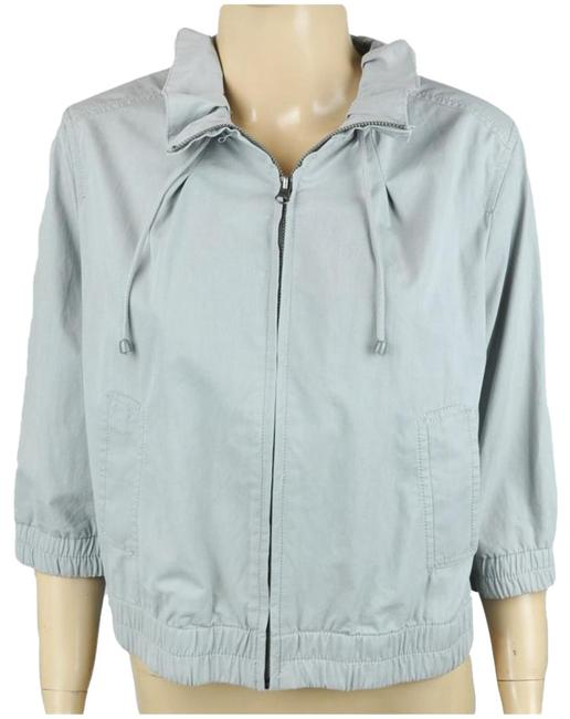Item - Gray Ruffle Gathered Tie Jacket Size Petite 12 (L)