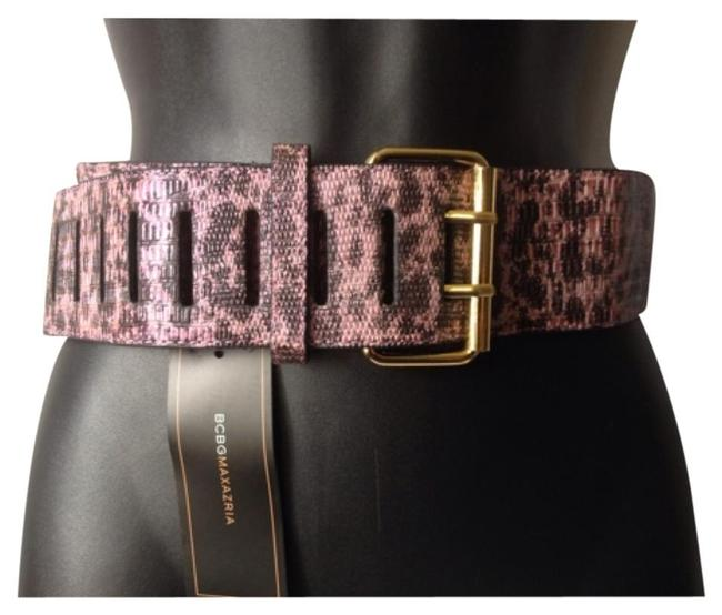Item - Pink and Black Animal Print Vegan Leather Gold Buckle Size S Small Wide Belt