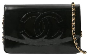 f9a8eb3d1b7e Chanel Wallet on Chain Vintage Timeless Cc Woc Black Patent Leather ...