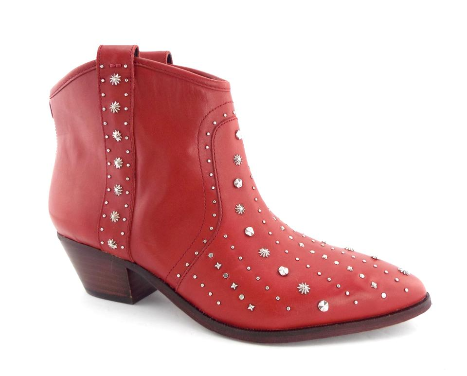 fdbef776cd85fb Sam Edelman Red Leather Studded Block-heel Western Ankle Boots Booties