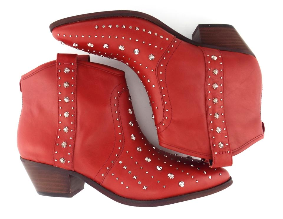 fef01a7b43fb5 Sam Edelman Red Leather Studded Block-heel Western Ankle Boots ...