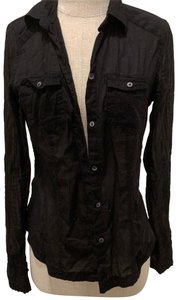 American Eagle Outfitters Button Down Shirt black