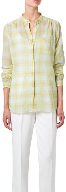 Preload https://img-static.tradesy.com/item/24799034/burberry-yellow-white-plaid-button-down-top-size-8-m-0-1-650-650.jpg