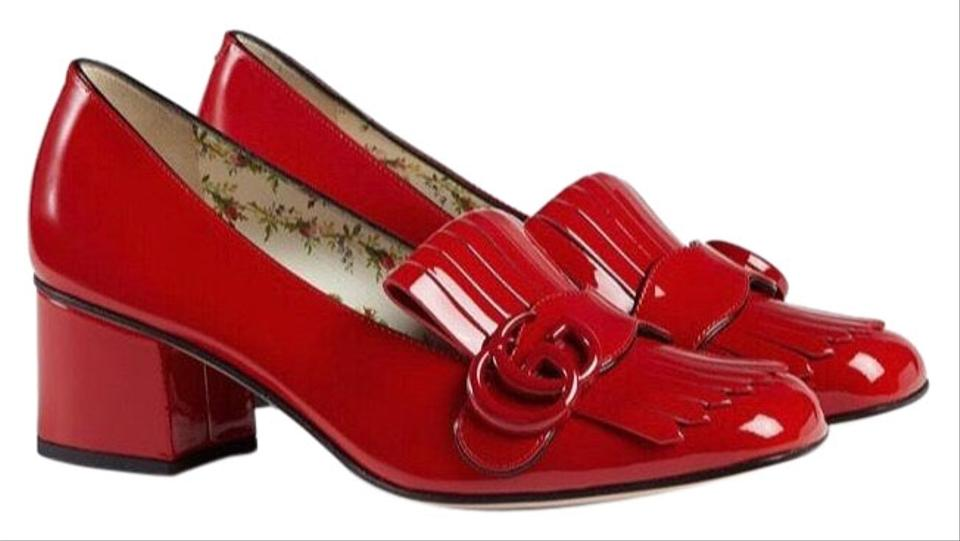 cbf4eff04b1 Gucci Red Marmont Patent Leather Mid Heel Loafer Mules Slides Size ...