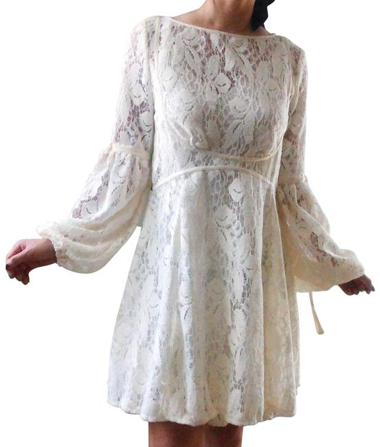 Free People Cream Victorian Lace Bell Sleeves Skater Short Casual Dress Size 0 (XS) Free People Cream Victorian Lace Bell Sleeves Skater Short Casual Dress Size 0 (XS) Image 1