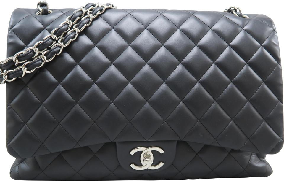 f8d75decb49c Chanel Classic Flap Maxi Double Black Lambskin Leather Shoulder Bag ...